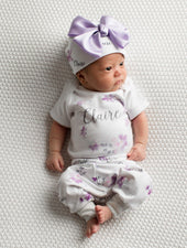 boutique baby clothes, baby girl floral outfit personalized