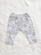 farmhouse toile gray personalized baby leggings