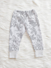 gray floral baby leggings with name