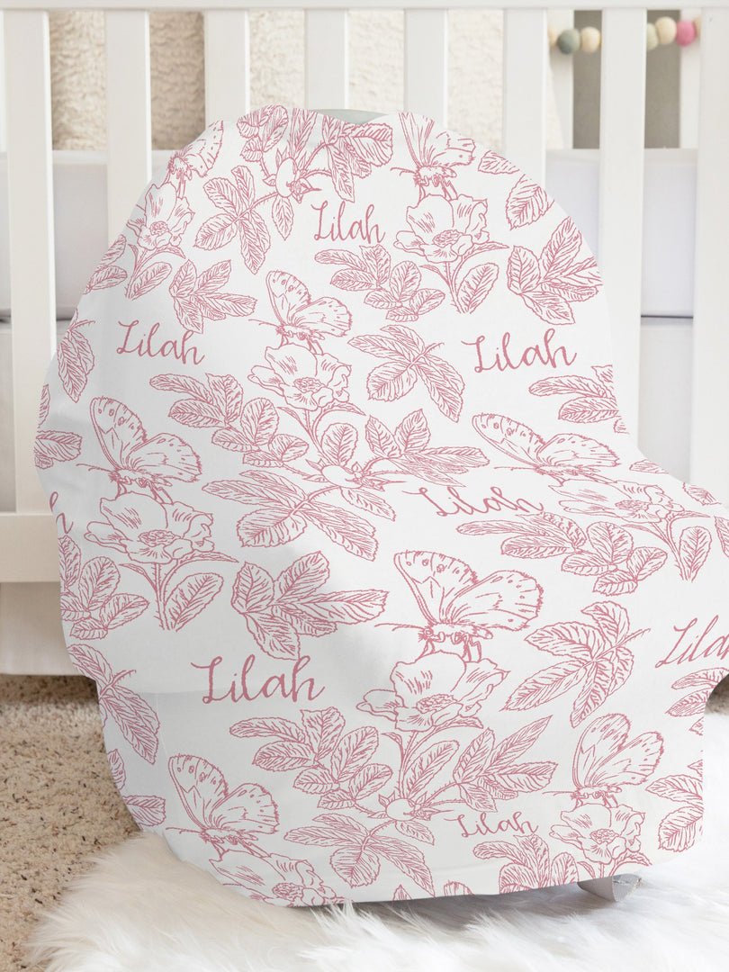 Farmhouse Toile Pink Car Seat Cover