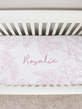 Farmhouse Toile Pink Crib Sheet
