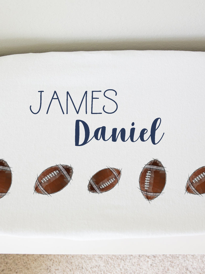 personalized football minky changing pad cover