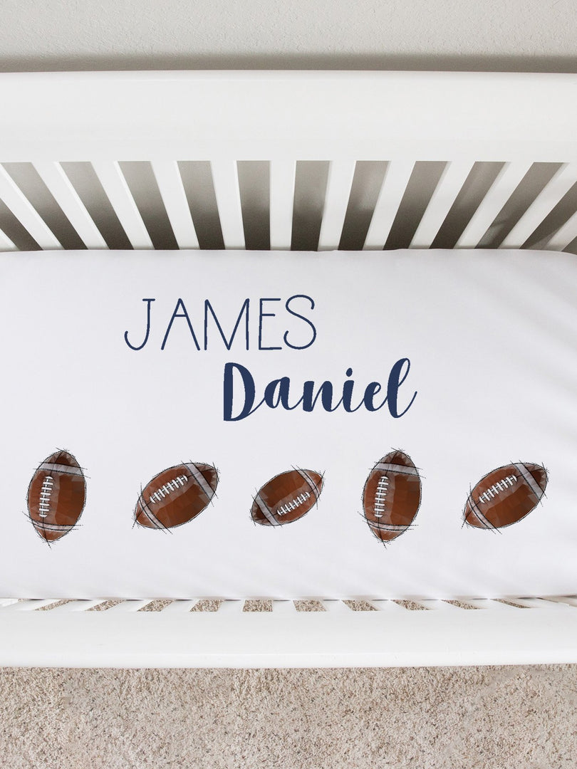 personalized football crib sheet, baby boy fitted crib sheet, football bedding for baby