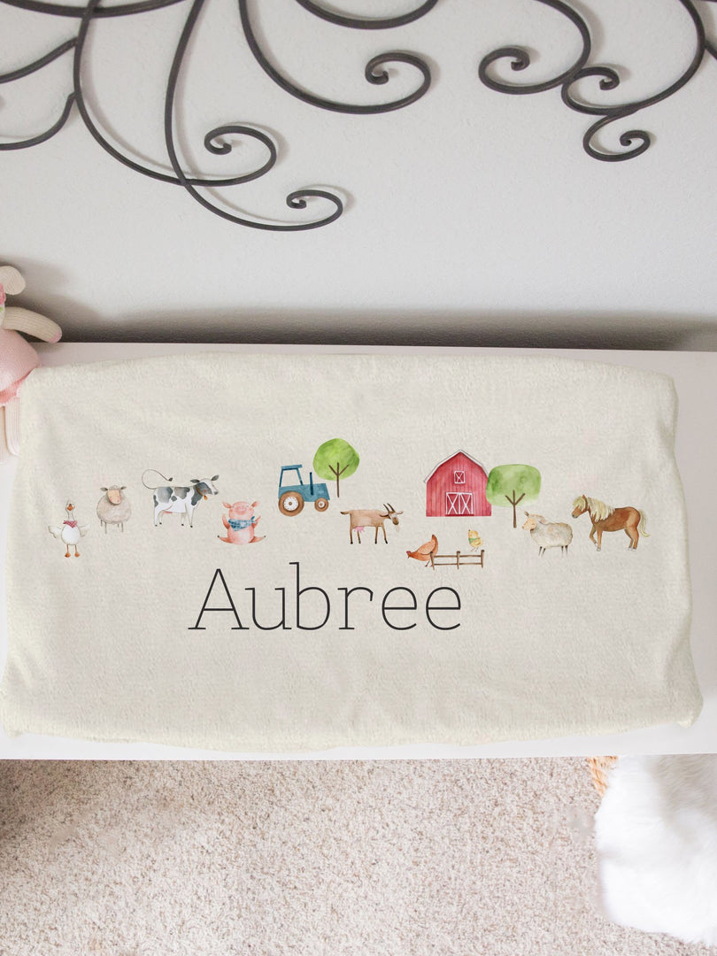 farm animals personalized changing pad cover minky