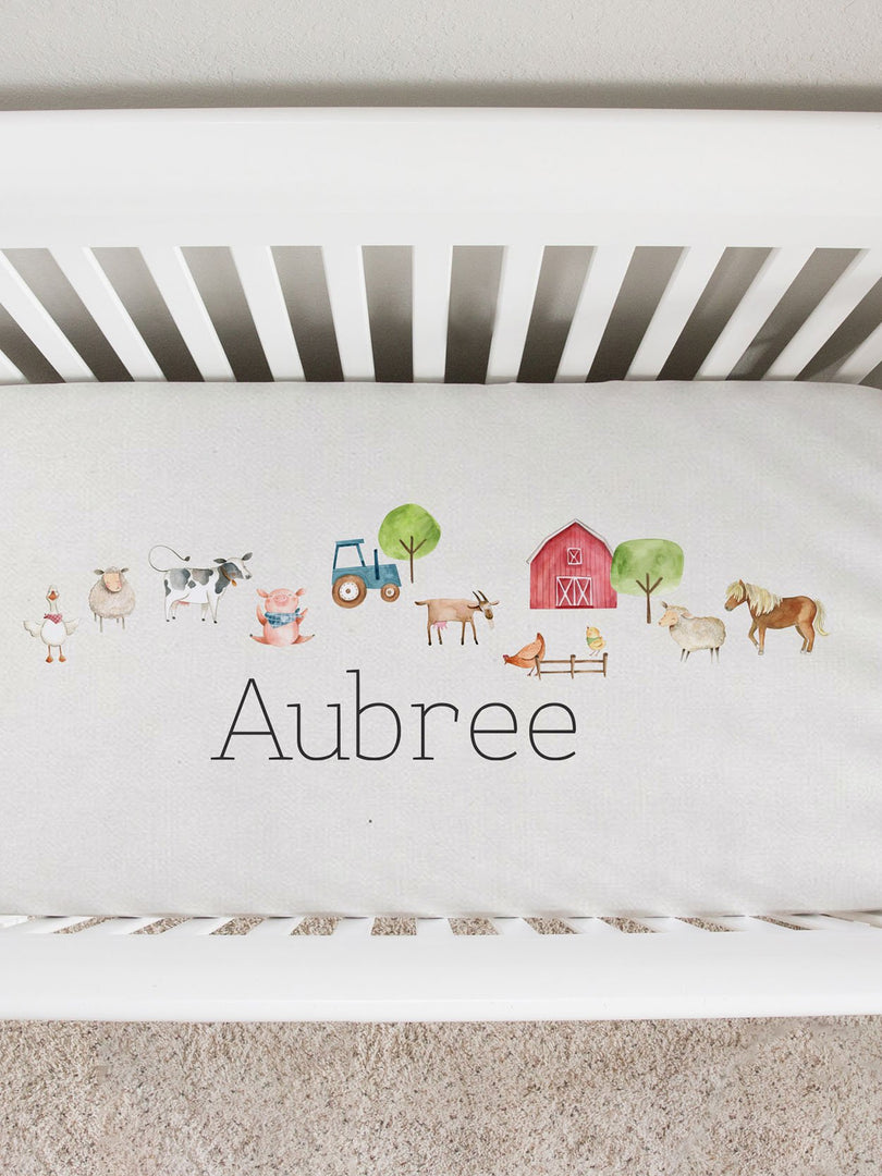 friendly farm animals personalized crib sheet, fitted sheet for farm nursery