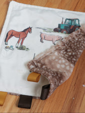 taggie blanket for baby with farm animals