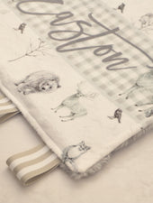 gray forest animal hand held lovie blanket