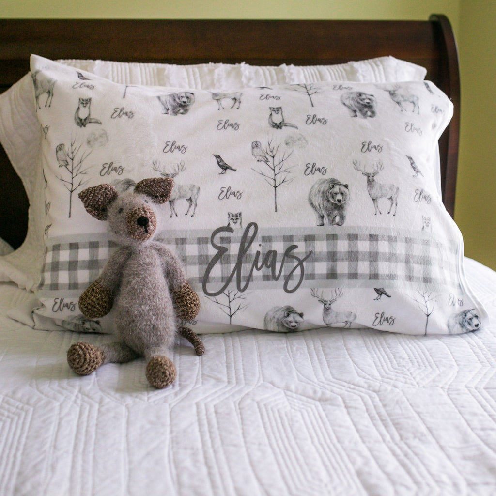 Gray Wildlife Pillowcase