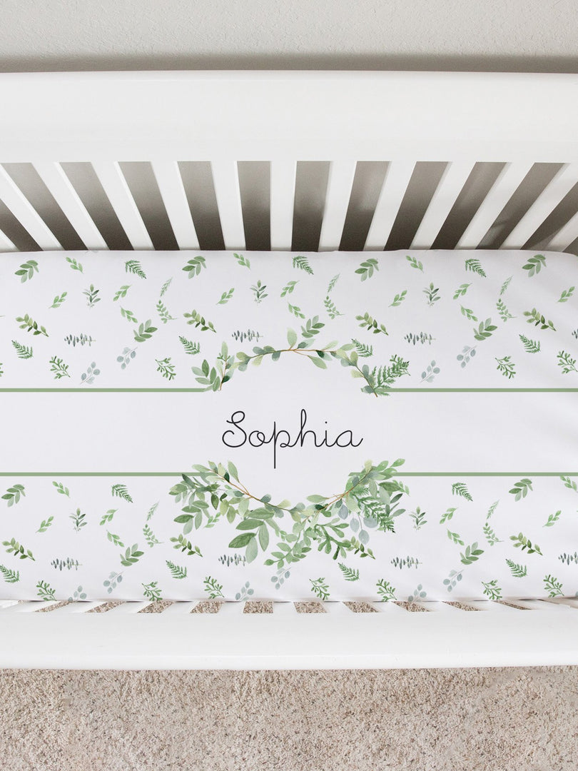 Greenery Crib Sheet