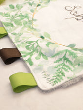 taggie blanket for baby girl. greenery baby blanket
