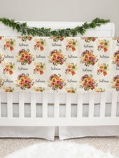harvest floral minky personalized baby girl deluxe blanket