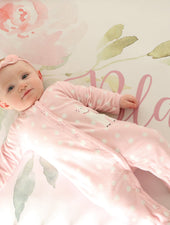 Hayley Pink and Gray Crib Sheet