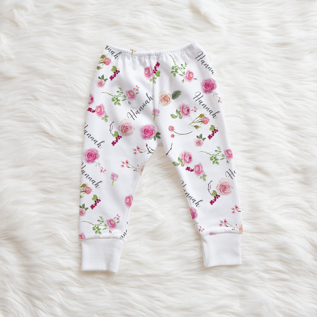 personalized little girl leggings with roses