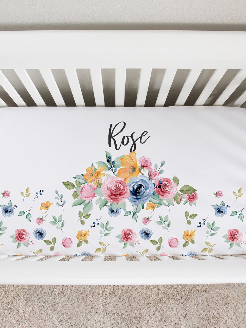 millie's sister floral crib sheet
