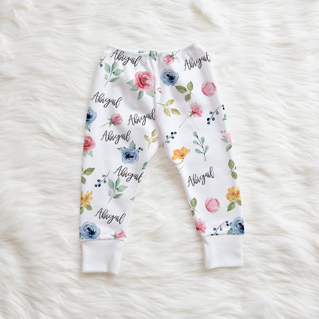 floral baby leggings with name
