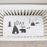 Modern Monotone Animals Crib Sheet