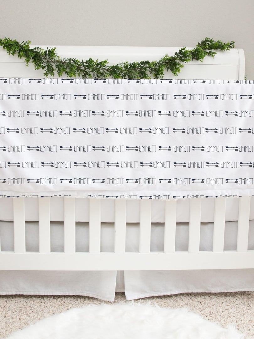 Navy and Gray Arrows Baby Deluxe Blanket