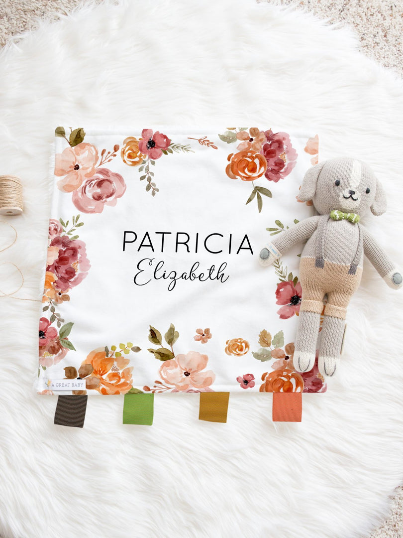 patti rich floral lovie for baby girl with name