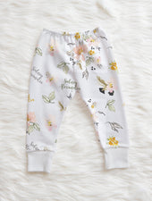 pink flower personalized baby leggings