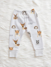 woodland animal personalized toddler boy leggings