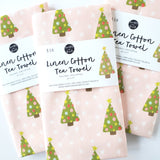 FUN TREES ON PINK TEA TOWEL