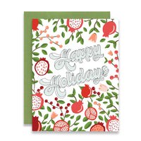 HAPPY HOLIDAYS - POMEGRANATE FLORAL