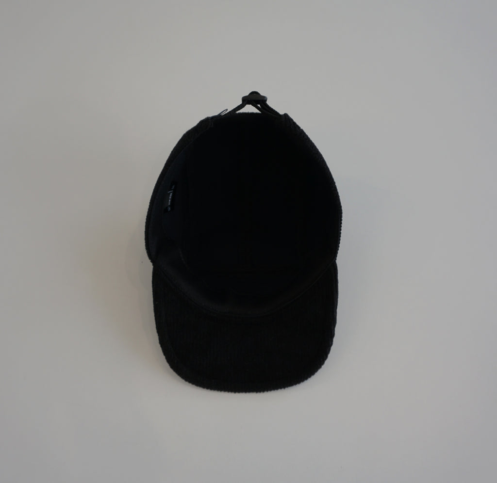 Black narrow corduroy cap
