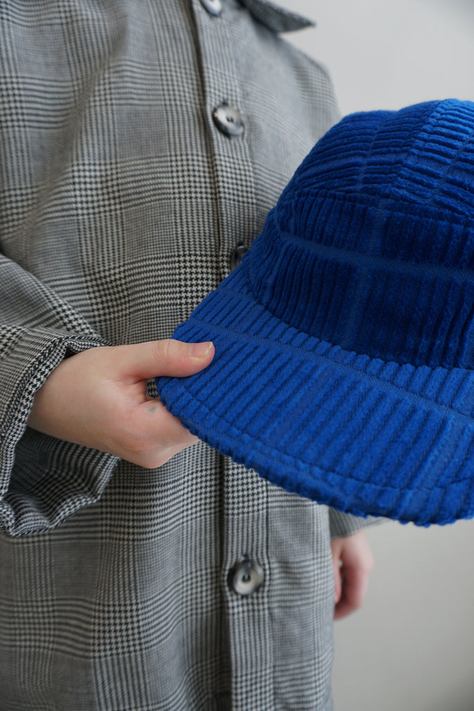 Electric blue corduroy cap