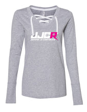 Load image into Gallery viewer, Women Long Sleeve Gray Lace Up JJCR Tee