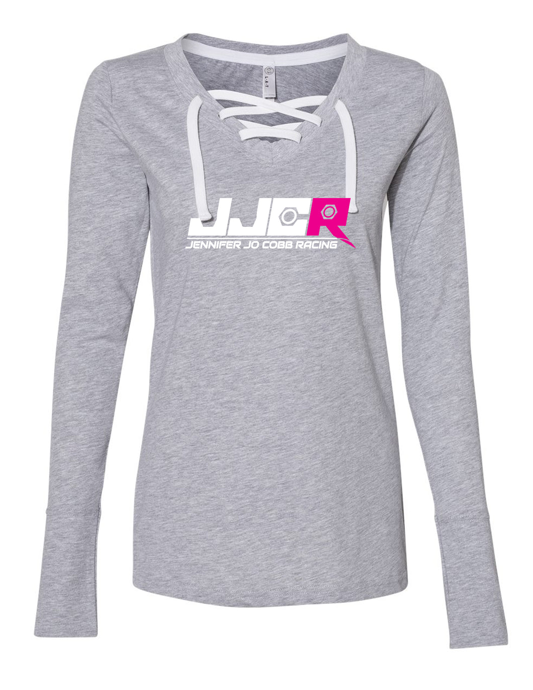 Women Long Sleeve Gray Lace Up JJCR Tee