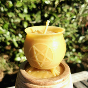 Pentagram Cauldron Beeswax Candle