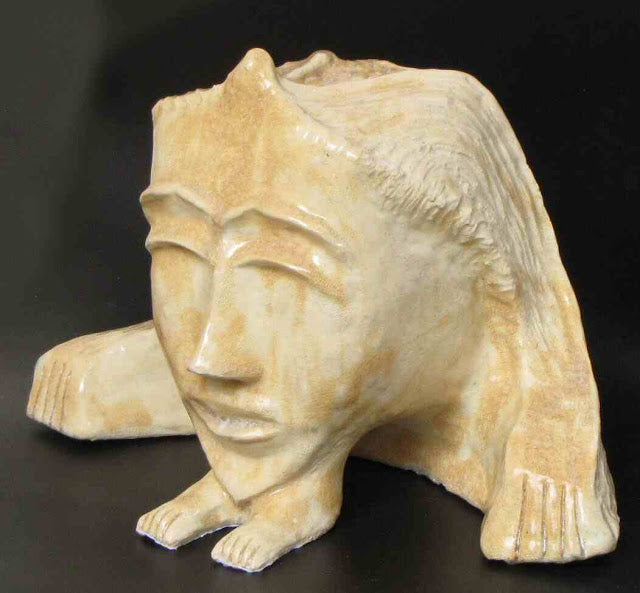 David Gome, clay sculpture with glaze, Height 20 cm
