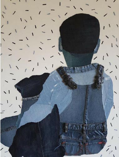 Ida Lomianski, Collage jeans on canvas, 100 by 80 cm