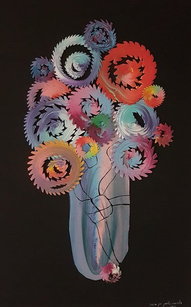 Eduard Almashe, solid color collage, superacrylic on canvas, 60 by 40 cm