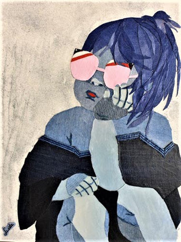 Ida Lomianski, Collage jeans on canvas, 60 by 50 cm