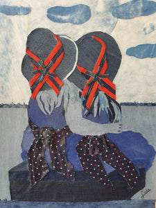 Ida Lomianski, Collage jeans on canvas, 50 by 40 cm