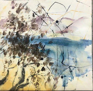 Varda Breger, Mixed technique on paper, 50 by 50 cm. Signed
