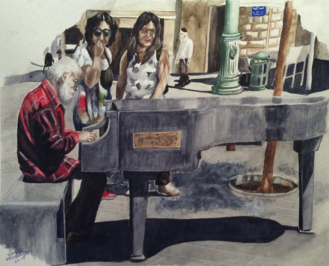 "George Freudenstein, ""Stone Piano"", Aquarelle on paper, 42 by 55 cm"
