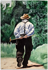 "George Freudenstein, ""Walking Softly"", Aquarelle on paper, 57 by 38 cm"