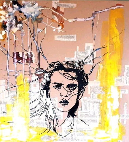 Liron ben ari, Watercolor, ink and acrylic with newspaper clippings on paper , 70 by 65 cm