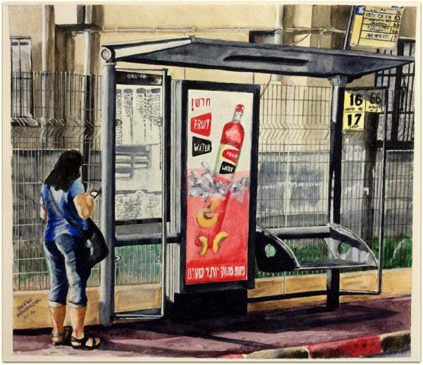"George Freudenstein, ""Bus Stop at Early Morning"", Aquarelle on paper, 39.5 by 45.5 cm"