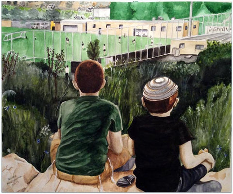 "George Freudenstein, ""Cheap Seats"", Aquarelle on paper, 59 by 71 cm"