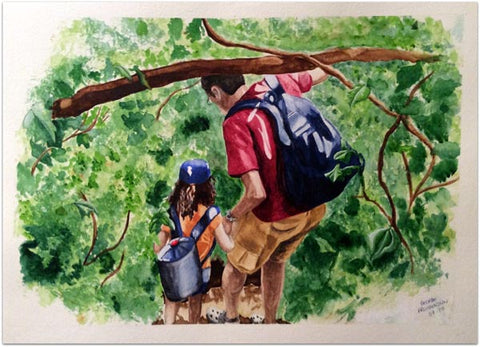 "George Freudenstein, ""Hikers"", Aquarelle on paper, 39 by 57.5 cm"