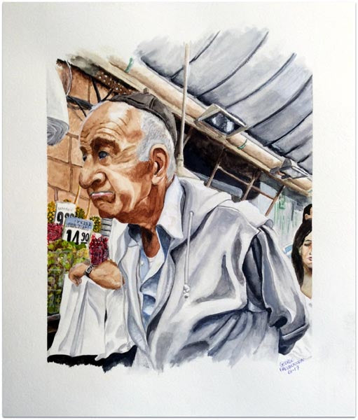 "George Freudenstein, ""Inspecting Humanity"", Aquarelle on paper, 39.5 by 51.5 cm"