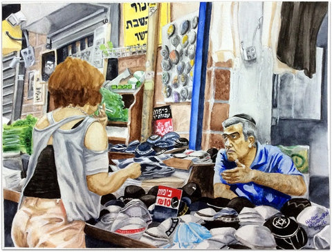 "George Freudenstein, ""Negotiation"", Aquarelle on paper, 29.5 by 39.5 cm"