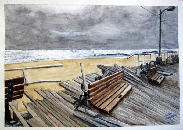 "George Freudenstein, ""Sandy's Footprint"", Aquarelle on paper, 27 by 39 cm"