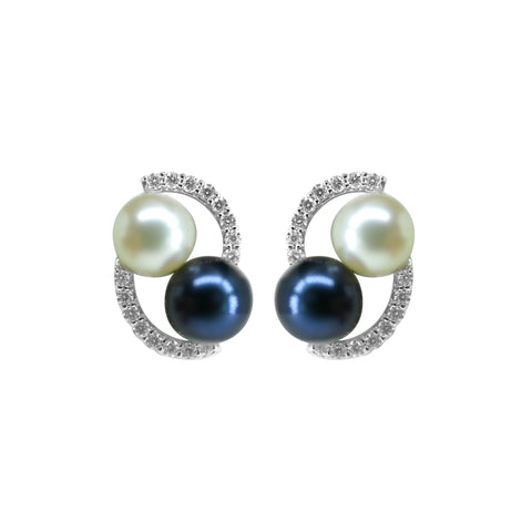 Gold -Pearl Diamond Earrings -GTCU044