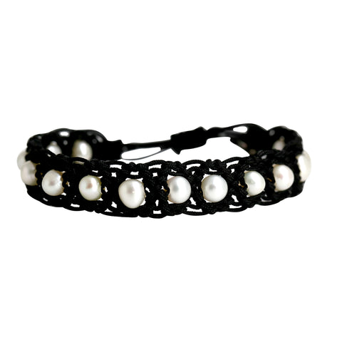 White pearl bracelet for men - BL327