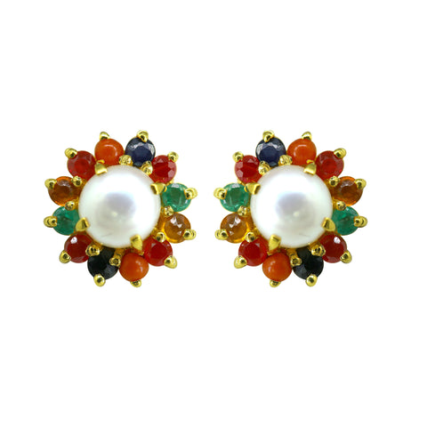 Gold Pearl and Navaratna Stud -GTPS147
