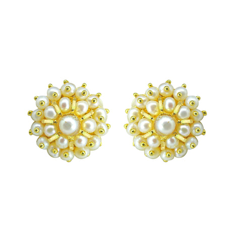 Gold Plain Button Pearl studs-GTWS212